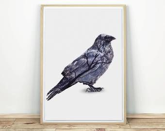 Gothic Raven Printable Wall Art - Raven Print, Gothic Print, Nevermore, Black Raven, Raven Wall Art, Raven Poster, Raven Wall Decor