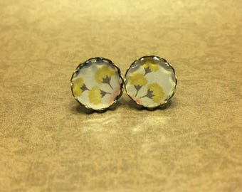 Round Yellow Floral Stud Earrings