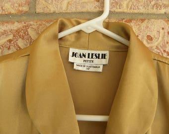 Vintage JOAN LESLIE Women's Blouse Top, Long Sleeve Golden Silky Fabric Size 14 Petite 70's