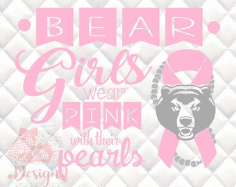 Bear Mascot 2 Pink and Pearls - Breast Cancer Awareness - SVG, Silhouette studio and png bundle