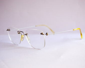 Vintage EyeGlasses. Brand MENRAD by FMG NOS no worn. Classic square rimless Man. Made in Germany. Rx eyewear 80s 90s. 100% stainless steel