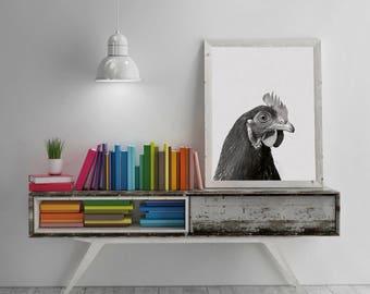 Hen Digital Print. Hen Print, Nature Art ,Bird Art, Wall Dekor, Wall art Print, Black and White decor, Large Wall Art