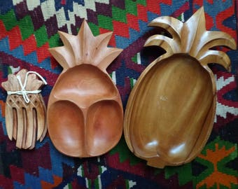 Pineapple Serving Set (3) Tray and Salad Tosser | Tropical Handcarved Wooden Platter Dish | Bohemian Decor Kitchenware