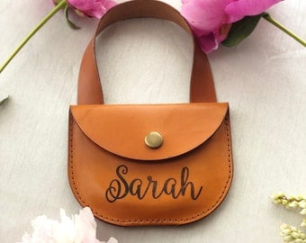Handmade Personalized Leather Girl Purse  - Little Girl Leather Purse  - Handmade Leather Purse - Small Leather Girl Purse