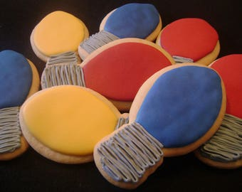 Lightbulb  Cookies   Custom Decorated Christmas cookies   Holiday Sugar Cookie
