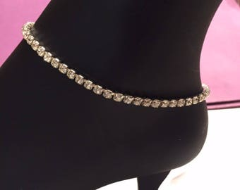 Rhinestone anklets Silver