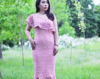 Pink Lace Prom/Wedding/Reception dress