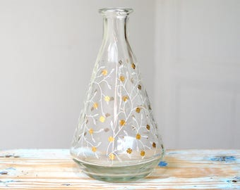Small antique glass vase / decanter / liquor bottle / white and gold leaf pattern / Mid Century / Vintage