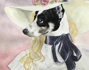 Custom Dog Painting-Dog Portraits-Custom Watercolor -Birthday Gift-Pet Portrait