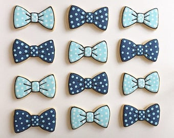 Little Gentleman Polka Dot Blue Bow Tie Cookies - Sugar Cookies with Royal Icing