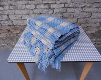 Welsh wool waffle honeycomb blanket throw double size vintage
