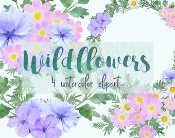 Wildflowers clipart, flowers clipart, watercolor wildflowers, bouquet clipart, watercolor clipart,floral clipart,wedding clipart,wildflowers