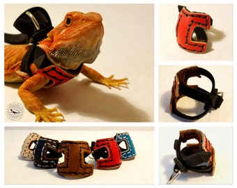 HerpaVest - Leather Training Harness for Juvenile & Sub-Adult Bearded Dragons by HerpaHarness
