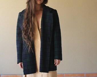 Pendleton Wool Plaid Blazer | Oversized Mens Vintage Blazer