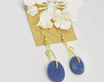 Gold and Blue Button Earrings