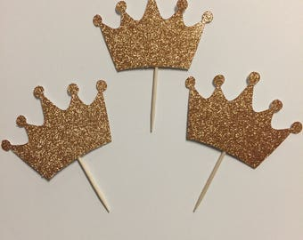 Glitter Crown Cupcake Toppers-Free Shipping