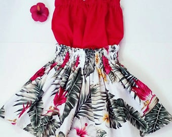 red and white luau dress, hawaiian hula skirt, girls hula outfit, hawaiian toddler / baby luau dress, baby luau hula outfit, 3 piece set