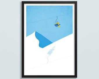 Ski art, ski gift, mountain art, winter print, ski lift print, gift for snowboarder, snowy mountain landscape, ski resort poster