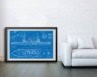 """Russian battleship Retvizan Blueprint Poster 24""""x 36"""""""