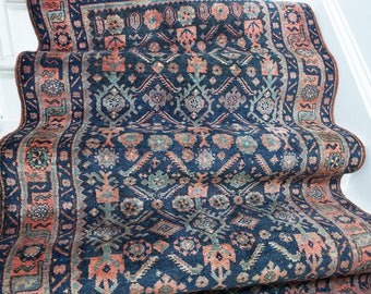 3'x7' Navy and Coral Vintage Persian Runner Rug