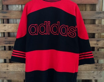 Vtg 90s adidas biglogo embroidery spellout jersey shirt !!!!