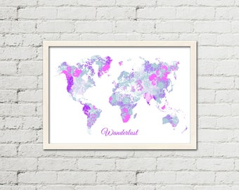 Flower World Map, Wall Art, Printable Map, Instant Download Map, World Map Poster, Modern Art, Gift for her, Modern Poster, APIRO PRINTS