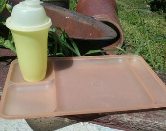 Vintage Tupperware Divided Tray with Vintage Tupperware Shaker/ Drink Mixer/Shake/Kids Table Plate/Camping/Peach/Yellow/Rectangle Plate