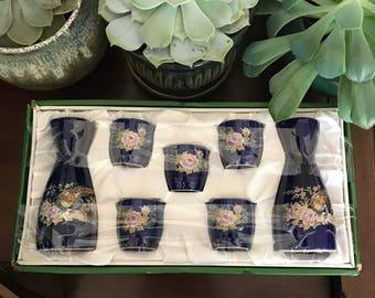 SAKE SET vintage blue japanese birds retro new in box pheasant good leaf floral flowers navy royal kitchen drinkware cups bareware antique