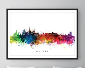 Oxford Skyline, Oxford England Cityscape Art Print, Wall Art, Watercolor, Watercolour Art Decor