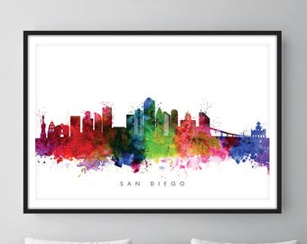San Diego Skyline, San Diego California Cityscape Art Print, Wall Art, Watercolor, Watercolour Art Decor
