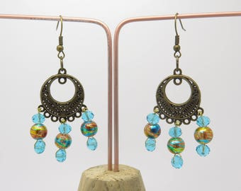 EARRINGS WITH PRINTS COLOR BRONZE AND GLASS BEADS