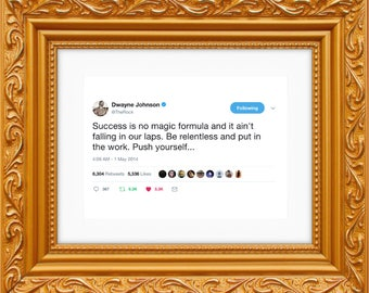 Dwayne Johnson The Rock Framed Tweet — Push Yourself [The Rock Poster, The Rock Wall Art, The Rock Decor, Dwayne Johnson Art]