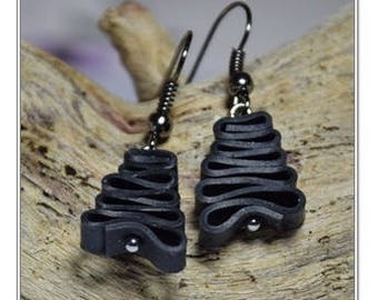 Bicycle Earrings, Bicycle Inner Tube Earrings, Recycled Jewelry, Eco Friendly Upcycled Earrings, Gift for Cyclists, Christmas Gift, Earrings