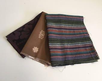 Vintage Silk Kimono Fabric Remnat, 3 pc