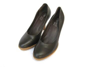 Vintage Exhibit Women's Chocolate Leather High Heels Pumps Size 7,5us/5uk/38eu