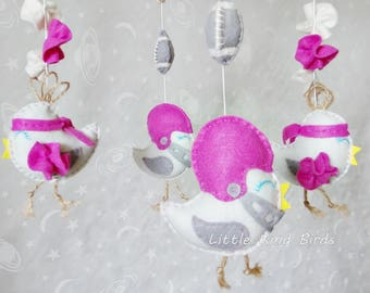 Baby mobile Little kind birds Real winners Exclusive mobiles Baby crib mobile Nursery decor Ceiling mobile Felt mobile Newborn
