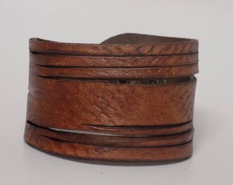 Brown Leather Cuff, Distressed Leather Cuff, Women's Leather Cuff, Men's Leather Cuff, Brown Leather Bracelet, Leather Jewelry, Wide Cuff