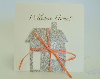 Silver welcome home card, New House Card, New Home Card, Housewarming Card, Simple new house card in silver, with ribbon