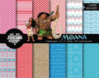 COD050-70% OFF SALE-Moana digital paper-Disney digital paper-moana printable-scrapbook printable-moana cliparts-tropical digital paper