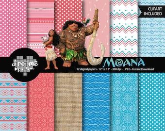 COD050-70% OFF SALE-Moana digital paper-Disney digital paper-moana printable-scrapbook printable-moana cliparts-tropical digital paper