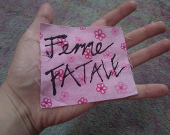 "Pink Punk Feminist ""Femme Fatale"" Patch/Patches/ Patches for Jackets/Punk Patches/Feminist Patches/Queer Patches/Cute Patches"