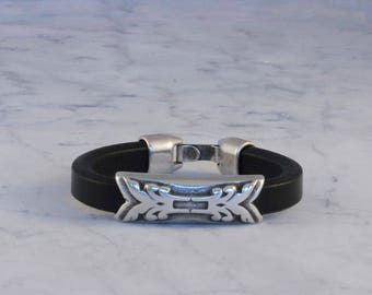 Licorice Leather, Antiqued Silver, Bracelet, Bangle, Leather and Silver Bracelet, Zamak, Sterling Silver