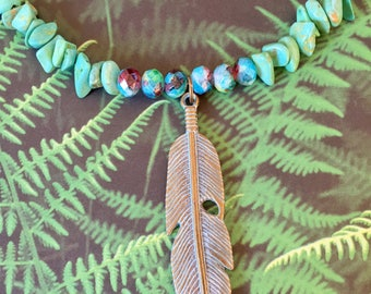 Turquoise feather necklace set