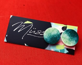 3d wood silver stud green ombre earrings