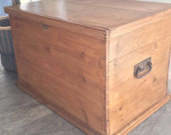 Gorgeous rustic old pine blanket box (chest)