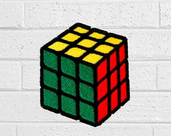 Green Rubik Cube Patch - Toy Patch - Iron On Patches - Patches for Jackets, Jeans , Cap - Cool Badge Size 6 cm (W) x 7 cm (H)