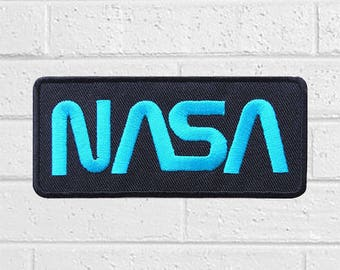 Nasa Space Logo Blue on Black Patch - Sign Patch - Iron On Patches - Patches for Jackets, Jean ,Cap - Cool Badge Size 10 cm (W) x 4.5 cm (H)