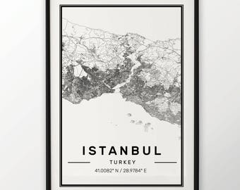 Istanbul City Map Print, Modern Contemporary poster in sizes 50x70 fit for Ikea frame 19.5 x 27.5 All city available London, New York Paris