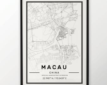 Macau City Map Print Modern Contemporary poster in sizes 50x70 fit for Ikea frame 19.5 x 27.5 All city available London New York Paris