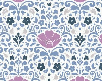Ethereal Floral Damask in Orchid Fat Quarter Cotton Fabric by Camelot (UK)